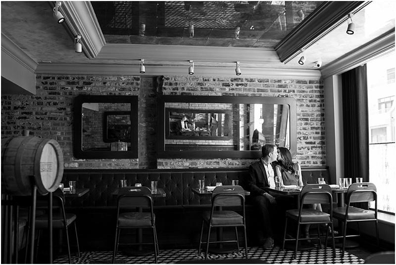 Romantic Restaurant Engagement Photos